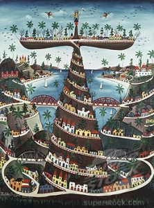 Crowned Tower Of Babel S.d. 1964 Prefete Duffaut (b.1923 Haitian)